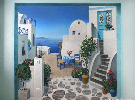 Настенная роспись в гостиной. Остров Санторини.