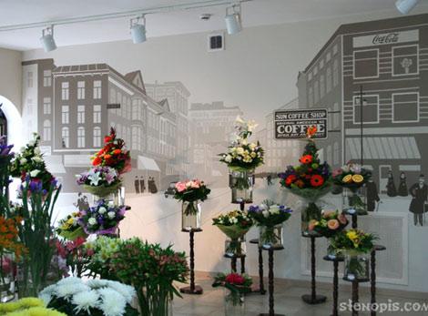 Роспись стены в витрине магазина цветов, СПб