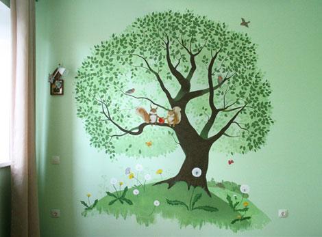 Настенная роспись в детской комнате. Волшебное дерево