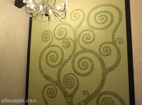 Роспись стены с рельефной лепкой