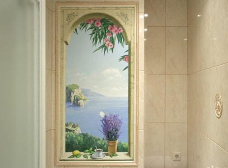 Роспись стены ванной комнаты