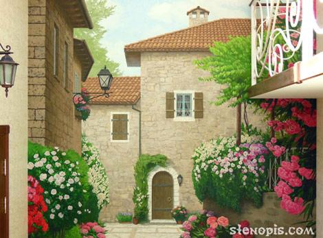 Роспись стены с итальянским двориком