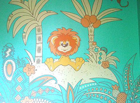 Роспись стен по мотивам мультфильма. Львенок