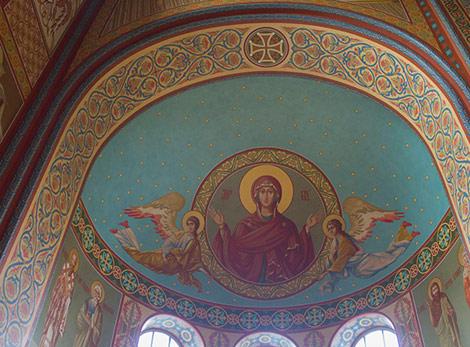 Роспись стен в соборе Архангела Михаила. Алтарь
