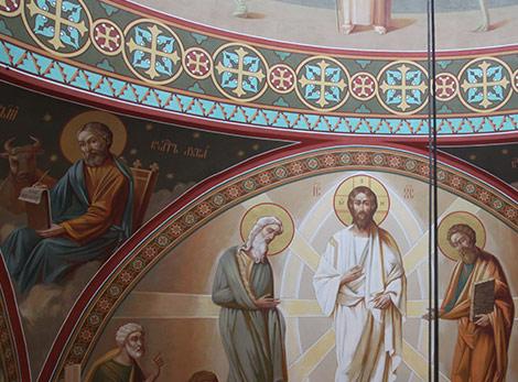 Роспись стен в соборе Архангела Михаила. Купол